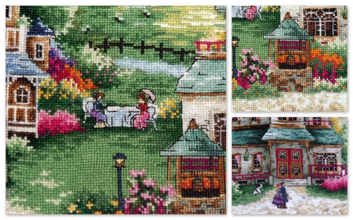 Вышивка крестом зеленая деревенька