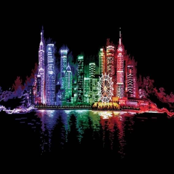 Ночной город вышивка крестиком